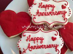 happy anniversary cookies Happy Anniversary Mom Dad, Anniversary Dessert, Anniversary Cookies, Ruby Wedding Anniversary, 1 Year Anniversary Gifts, Anniversary Parties, Wedding Vows, Fancy Cookies, Royal Icing Cookies