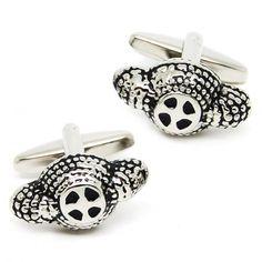 Novely black-silver engraved cufflinks