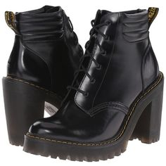 Dr. Martens Persephone (Black Buttero) Women's Shoes ($160) ❤ liked on Polyvore featuring shoes, high heel shoes, dr. martens, laced shoes, high heeled footwear and shiny shoes