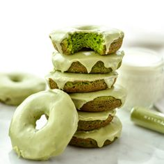 Baked Paleo Spinach Donuts with Matcha Glaze are the perfect healthy breakfast full of sneaky veggies! Gluten-free, dairy-free, & refined sugar free!