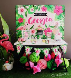 What a gorgeous Flamingo Birthday Party!! Love the dessert table! See more party ideas and share yours at CatchMyParty.com