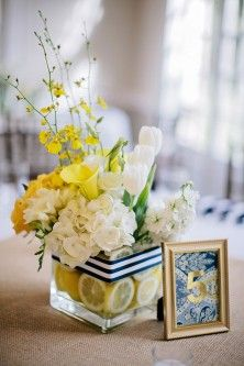 Navy  Wedding Centerpieces with yellow and white flowers