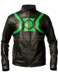 Pretentious Men's Black Leather Biker Jacket with Green Touch