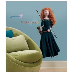 @Overstock - Relive the magic of Disney's Brave in any room with this removable and repositionable giant wall decal of the courageous Merida. These exciting removable and repositionable decals add a fun and colorful atmosphere to any bedroom.http://www.overstock.com/Baby/Disney-Brave-Merida-Peel-Stick-Giant-Wall-Decal/7662828/product.html?CID=214117 $16.99