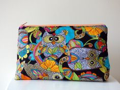 Toiletry Bag with Psychedelic Owl Print, Wash Bag, Large Cosmetic Bag, Beauty Bag, Travel Bag, Large Zipper Pouch, Owl Lover Gift, Lady Gift by TabbyCatCraftsShop on Etsy