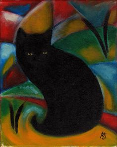 Black Cat inspired by Franz Marc  ACEO print by heidishaulis