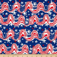 Stars & Stripes II Waving Flags & Stars Red/White/Blue from @fabricdotcom  This cotton print is perfect for quilting, apparel and home decor accents.  Colors include red, white and blue.