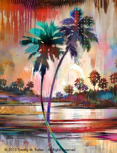 Abstract Palm Tree Painting - PALM TREE COLORS - Florida Palm Tree Art - Contemporary Palm Tree by birdart on Etsy