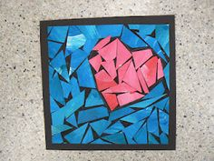 paint the two colors, cut up the painted paper and glue onto black