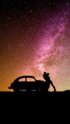 Silhouettes, couple, car, milky way, hug, 720x1280 wallpaper