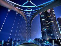 Suspended bridge:Humber Bay Arch Bridge in Toronto,Canada Arch Bridge, Pedestrian Bridge, Suspension Bridge, Night City, Photo Essay, Amazing Architecture, Modern Architecture, Toronto Architecture, Photos Of The Week