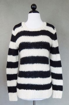 JOE'S Black Ivory Striped Fuzzy Kid Mohair Blend Long Sleeve Sweater Size Small #Joes #Crewneck #Casual
