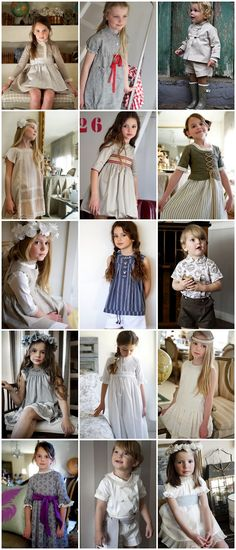 Kids Clothes. The look is vintage, handmade, lineny. I really love this style. Reminds me of Sugar City Journal.