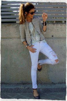 Tweed jacket & Rotos Zara denim