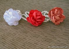fabric flower wrist corsage #wedding peach, hot pink, white from Mark the Occasion Designs