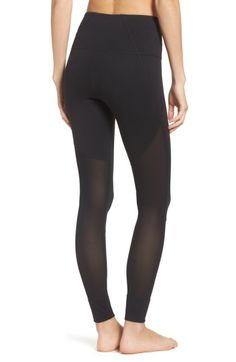 Sultry High Waist Leggings ZELLA | Sheer mesh panels and moisture-wicking fabric keep you cool as your workout warms up in figure-sculpting leggings topped with a high, slip-free waistband.
