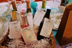 Great idea for bridal shower. Champagne bottles with personalized tags. One for the 1st fight, First night as man and wife, First dinner party after wedding, etc. When she gets pregnant it says this one is for him...One for first birth, etc.