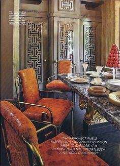 Kelly Wearstler: taupe + pumpkin #cabinetdetail kitchen fretwork mirrored inset cabinet armoire door panel #drdfretwork detail