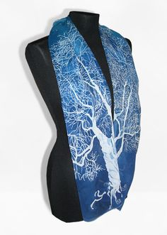 silk scarves White Tree of Gondor long silk scarf by MinkuLUL