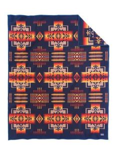 CHIEF JOSEPH BLANKET. $249 for twin. FOLD this at bottom of bed with PB blue jay diamond quilt, Anthropologie white/multi embroidered pillow case and PB Maggy floral euro sham.*