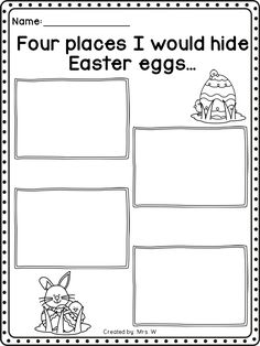 "Easter Literacy and Math Printables - Kindergarten - ""Four places I would hide Easter eggs..."" Writing Prompt"