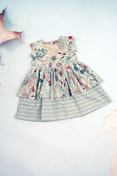 The Bring to Bloom Girls Blue Floral Cotton Dress with Double Ruffle Skirt Vintage Inspired by Fleur + Dot