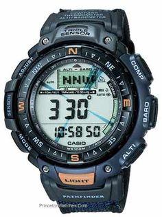 Casio Pathfinder Triple Sensor Digital Compass Watch - Blue Nylon Strap