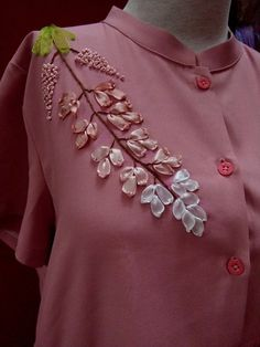 Wonderful Ribbon Embroidery Flowers by Hand Ideas. Enchanting Ribbon Embroidery Flowers by Hand Ideas. Embroidery On Clothes, Hand Work Embroidery, Hand Embroidery Stitches, Hand Embroidery Designs, Embroidery Patterns, Embroidery Supplies, Ribbon Embroidery Tutorial, Silk Ribbon Embroidery, Embroidery Dress