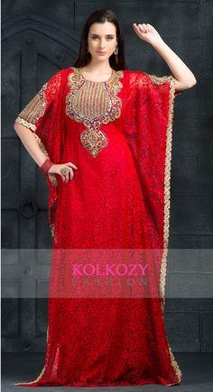 Supercool Red Color Designer Arabic Caftan Dress - Buy Online @ http://www.kolkozy.com/red-color-kaftan-other-kkpf1080.html