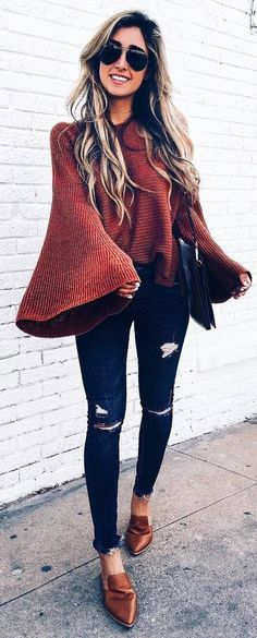 trendy fall outfit brown sweater   rips   loafers