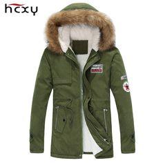 2016新しい到着メンズ厚く暖かい冬ダウンコート毛皮の襟アーミーグリーン男性パーカービッグヤードロング綿のコートジャケットパーカー男性
