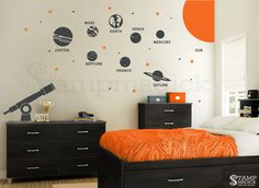 Solar System Wall Decal - Planets Wall Decal - Telescope Universe Outer Space Wall Decal Wall Mural - Stars Children Wall Art - K219B by stampmagick on Etsy https://www.etsy.com/listing/232502201/solar-system-wall-decal-planets-wall