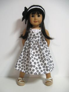 American Girl Doll Clothes- Spring Floral -Black and White