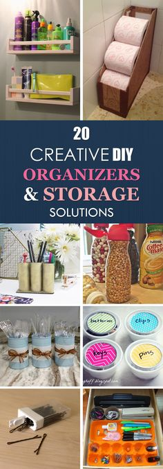20 Creative DIY Organizers and Storage Solutions - Storage and Organization Diy Organizer, Storage Organizers, Shoes Organizer, Spice Organization, Clutter Organization, Household Organization, Diy Storage, Bathroom Storage, Bathroom Ideas