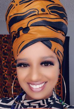 African Scarf, African Fabric, African Attire, African Fashion Dresses, African Makeup, Head Wraps For Women, Hair Wrap Scarf, Metallic Scarves, Dress With Shawl