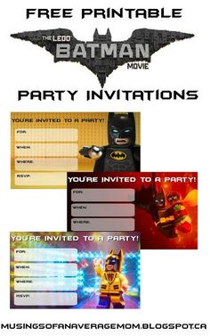 Lego Batman Movie Party Invitations - Batman Party - Ideas of Batman Party - Musings of an Average Mom: Lego Batman Movie Party Invitations Lego Batman Party, Lego Batman Birthday, Lego Birthday Party, Lego Batman Movie, Superhero Cake, Birthday Ideas, 5th Birthday, Birthday Cakes, Birthday Parties