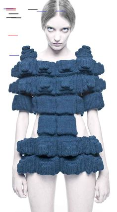 11 Inspiring Examples Of Handicraft, From Makers Across The World Challenging our approach to the form of the figure - Power of Making @ V&A Sandra Backlund knitted dress Fabric Manipulation Fashion, Fashion Maker, Sandra Backlund, Design Research, Knitwear Fashion, Bitty Baby, Baby Booties, Handicraft, Knit Dress