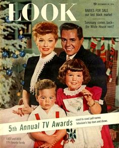 The Arnaz family at Christmas time, 1954.