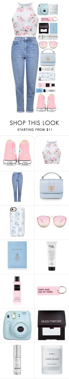 """""""Confused"""" by ellac9914 ❤ liked on Polyvore featuring Converse, Topshop, Casetify, Quay, Mark Cross, philosophy, Victoria's Secret, Various Projects, Fujifilm and Laura Mercier"""