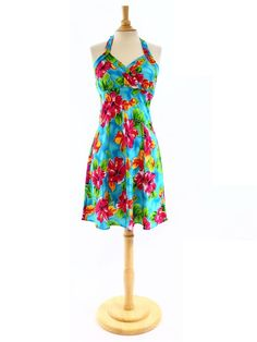 TP 904-1R [Hibiscus Watercolor / Blue] - Short Dresses - Hawaiian Dresses | AlohaOutlet SelectShop