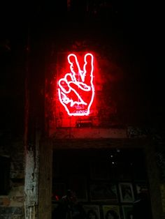 Neon lights victory hand sign ✯ John Varvatos store Bowery, nyc. (attic©2012)✯