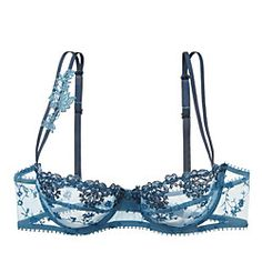 This floral lace bra is a breath of fresh air. The double straps have a delicate little lace tendril up one side, perfect for peeking out of boatnecks or trenchcoats.