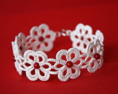 SALE  Tatted Lace bracelet ivory tatting sterling by LaceLadyOla, $21.00