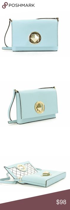 "Kate Spade newbury lane crossbody A very adorable crossbody in crosshatched leather from Kate Spade in blue hydrangea. NWT.  - 14-karat light gold plated hardware - Flap closure with embossed signature logo turnlock - Interior slide pocket - Adjustable strap with 22.5-45"" drop  Color: Blue Hydrangea Size: 4.9"" x 7.4"" x 1.1"" kate spade Bags Crossbody Bags"