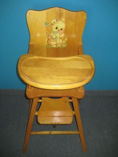 Vintage wooden high chair pretty much identical to the one my brother had in 1957 Wooden High Chairs, Vintage High Chairs, Metal Chairs, Modern Chairs, Novelty Items, My Childhood Memories, Baby Memories, The Good Old Days, Vintage Toys