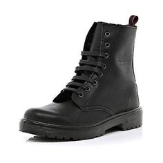 f71af594d85130 £40 black worker boots - ankle boots - shoes   boots - women - River