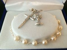 First Communion Pearl Bracelet with Chalice and Crucifix  Catholic gift