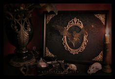 Gothic Bat Taxidermy Victorian Black Antique Damask Brass Filigree Curio Shadow box frame macabre wall Plaque