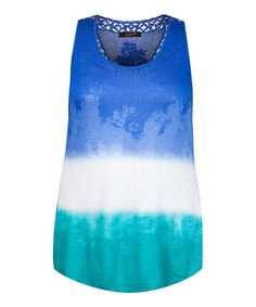 Another great find on #zulily! Royal Blue & Turquoise Tie-Dye Tank - Plus by Dex #zulilyfinds