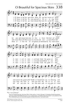 Glory to God: the Presbyterian Hymnal O beautiful for spacious skies Sheet Music Crafts, Piano Sheet Music, Christian Song Lyrics, Christian Music, Music Lyrics, Music Songs, Hymns Of Praise, Church Songs, American Songs